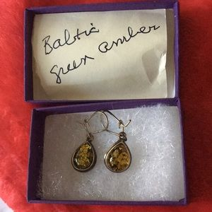 Gorgeous Baltic Green Amber earrings 1.2 inches